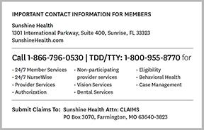 Healthy Id Member Health Sunshine Kids™ Cards