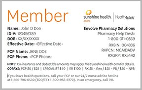 Member Id Cards Healthy Kids Sunshine Health
